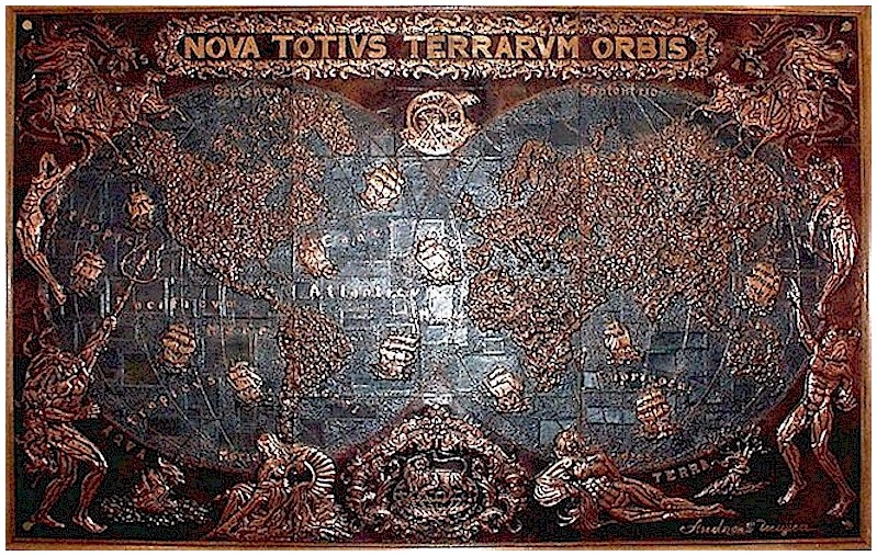 Terrarvm orbis copper mural by andreas mujica for Caldera mural orbis